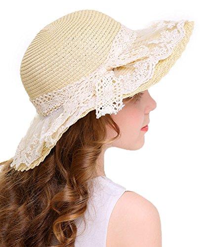 Bienvenu Little Girl Kids Summer Straw Hat Wide Brim Floppy Beach Sun Visor Hat,Beige -