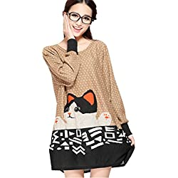 Cute Cartoon Cat Printed Women Long Sleeve Round Neck Loose Knitwear Tops Blouse