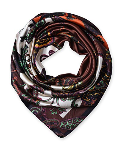 Large Square Satin Silk Like Lightweight Scarfs Hair Sleeping Wraps for Women Coffee Ethnic Floral Pattern - Light Coffee Satin