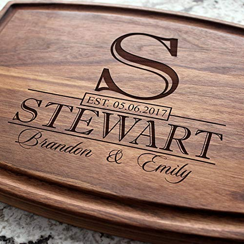 Classic Monogram Wedding Personalized Cutting Board - Engraved Cutting Board, Custom Cutting Board, Wedding Gift, Housewarming Gift, Anniversary Gift, Engagement - Custom Boutique Monogram