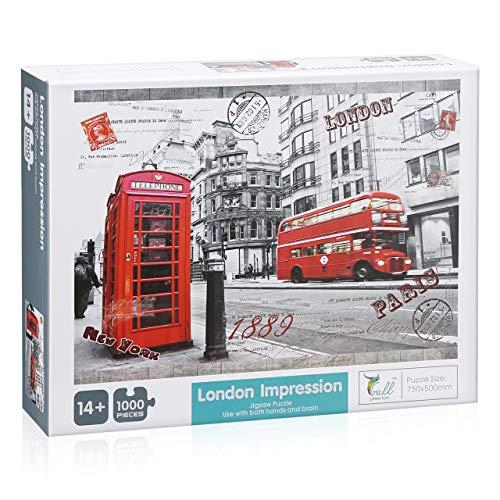 Powerextra 1000 Teile Impressionen von London Puzzle, Klassische Puzzle 1000 Teile Stressabbau Spielzeug für Erwachsene Kinder …