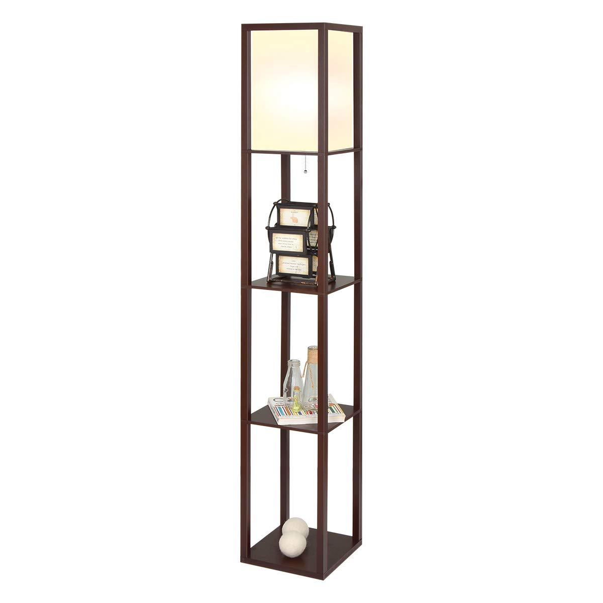 Home-Man LED Floor Lamp - Etagere Style Modern Standing Light for Living Rooms & Bedrooms with LED Light Bulb Included - 3 Tiers Storage Shelving for Accent Decor Organization