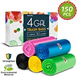 4 Gallon Trash Bags,Small Garbage Bags,Double Wave Thicken Small Trash Bags,15-Liters Bin Bags Wastebasket Bags for Office,Kitchen,Home Trash Can,Bathroom,Bedroom,18''*20'',150 Counts 5 Color