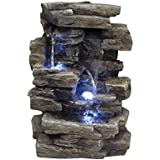 Merveilleux Alpine WIN220 Waterfall Tabletop Fountain With White LED Light
