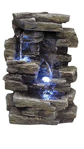 Alpine Corporation 4-Tier Cascading Tabletop Fountain with LED Lights - Indoor/Outdoor Water Fountain Decor - Gray from Alpine Corporation
