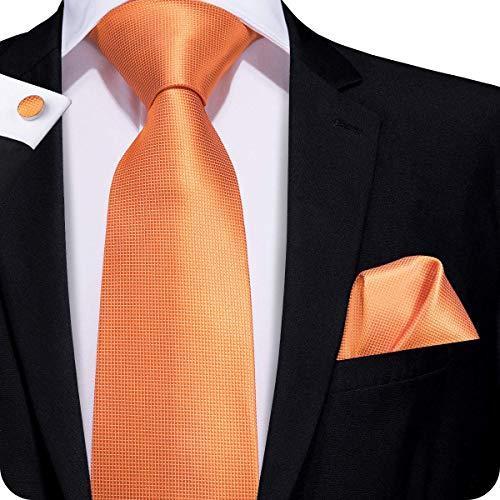 Hi-Tie New Classic Orange Solid Woven Silk Tie Hanky Cufflinks set