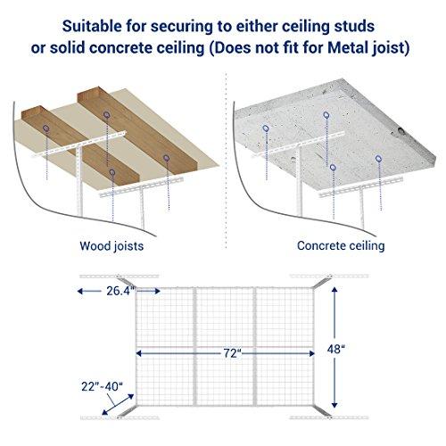 FLEXIMOUNTS 4x6 Heavy Duty Overhead Garage Adjustable Ceiling Storage Rack, 72'' Length x 48'' Width x 40'' Height, White by FLEXIMOUNTS (Image #6)