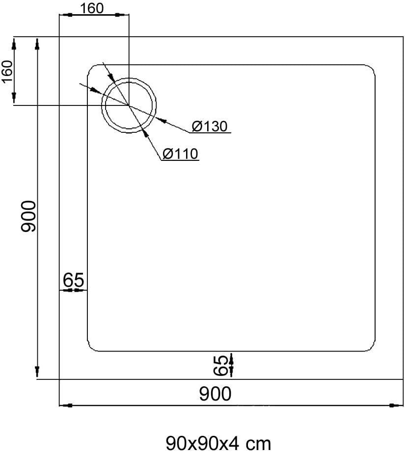 Receveur de douche ultra plat 4cm bac a douche anti-glisse acrilique avec bonde AL02 LUCIA01 80X80X4cm