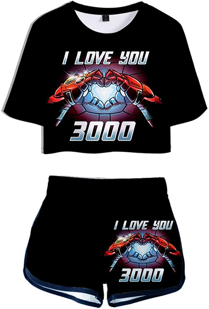 My Sky 2 Piece I Love You 3000 Times Outfits for Womens Girls Crop Top and Short Pants Sets 511SJbD9JTL