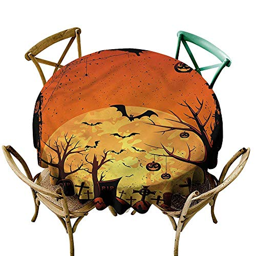 Halloween,Round Table Cover Grungy Graveyard Cemetery D 54