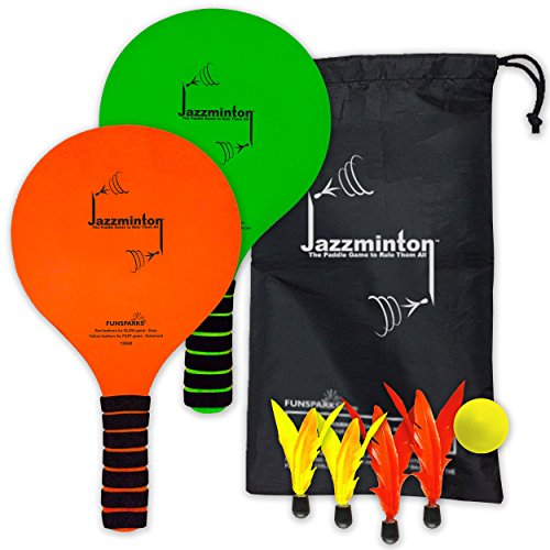 Funsparks Jazzminton Paddle Ball Game With Carry Bag - Indoor Outdoor Toy - Play at the Beach, Lawn or Backyard - 2 Wooden Racquets - 4 Shuttlecocks - 1 Ball by Funsparks