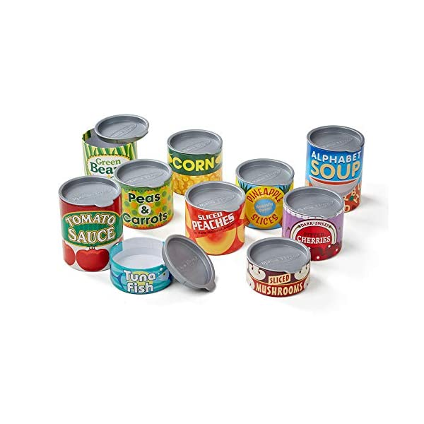 Melissa & Doug Let's Play House! Grocery Cans Play Food Kitchen Accessory – 10 Stackable Cans with Removable Lids
