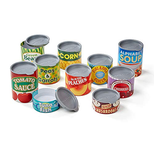 Melissa & Doug Let's Play House! Grocery Cans (Pretend Play, Pop-Off Lids, Sturdy Cardboard Construction, 10 Cans, Great Gift for Girls and Boys - Best for 3, 4, 5, and 6 Year Olds) from Melissa & Doug