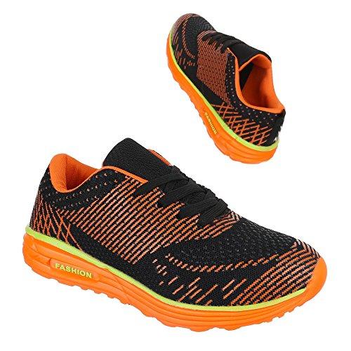 Ital-Design - Zapatillas de Material Sintético para mujer Negro - Schwarz Orange