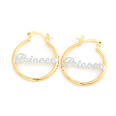 c138fb8cefc5a Amazon.com: 24K Gold Plated Circle Hoop Earrings Alphabet Nameplate ...