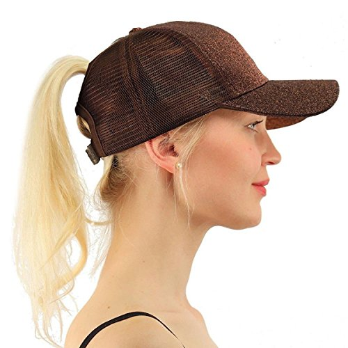 ATIMIGO Trend Glitter Baseball Cap for High Ponytail Women's Messy Bun Trucker Baseball Hat Special for Women Girl (Brown)