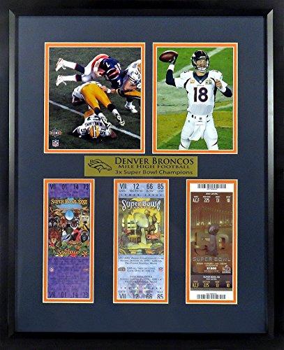 """Denver Broncos """"Mile High Football"""" Super Bowl Ticket Display (Feat. Elway & Manning) Framed"""