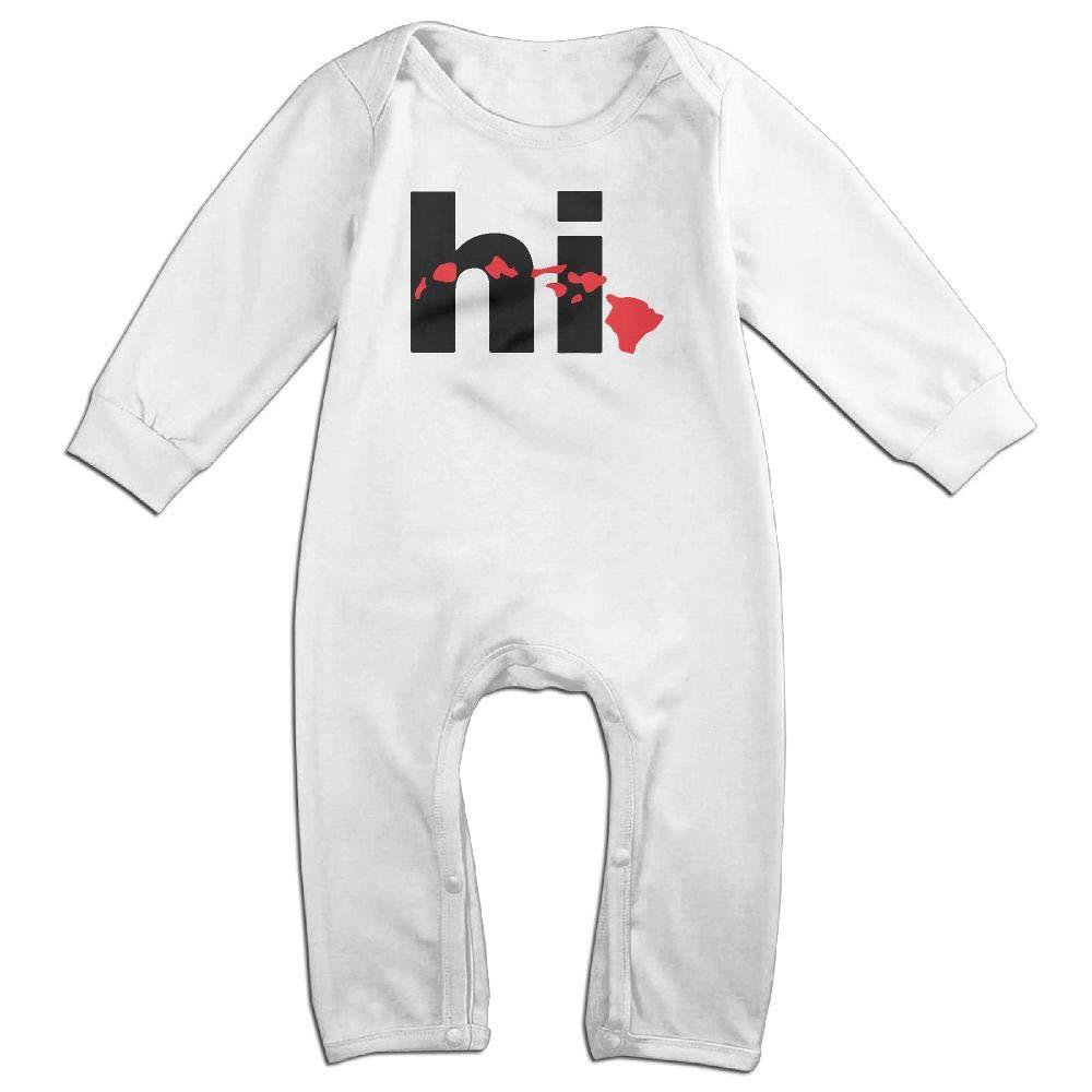UGFGF-S3 Hawaii HI Islands American Long Sleeve Infant Baby Romper Jumpsuit Onsies for 6-24 Months Bodysuit