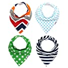 Matimati Baby Bandana Drool Bibs with Snaps for Boys