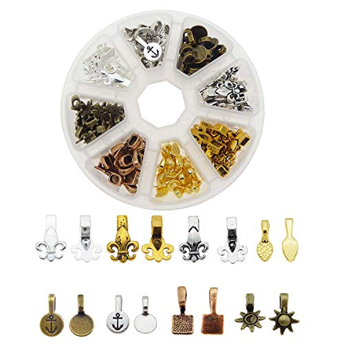 Julie Wang 1 Box of 120 pcs Mixed Glue on Bail Charm Pendants Fleur de lis Design for Jewelry Making 8 Styles 6 Colors ()