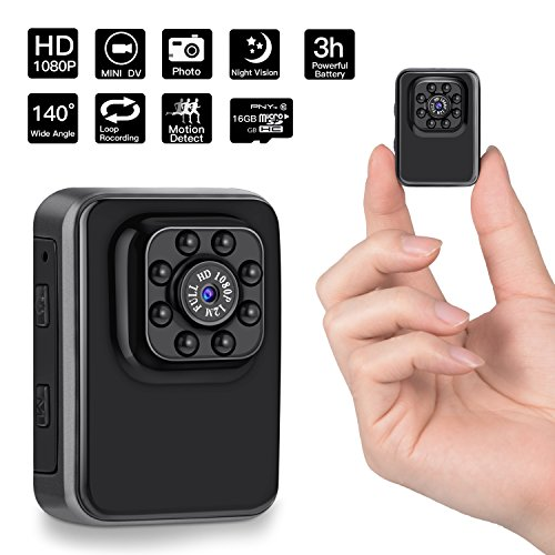 1080P Mini Hidden Camera,DigiHero 16GB Mini Camera.Support Looping Recording Video/Snapshot/Motion Detection/Night Vision,Portable Mini Video Recorder for Home and Office(16GB TF Card Included) (Car Security Camera Night Vision)