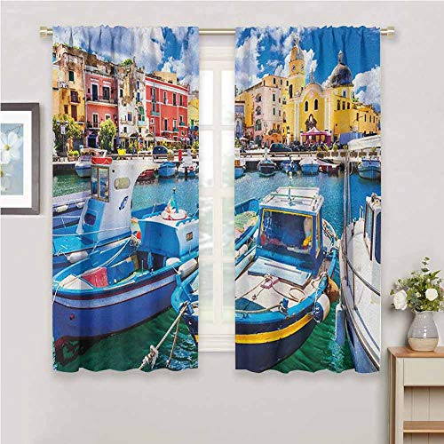 Jinguizi Italy Doorway Curtain Colorful Procida Island with Fishing Boats Summertime Tourism Vacation Travel Theme Bedroom Curtains Multicolor 55 x 63 inch