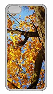 Customized iphone 5C PC Transparent Case - Yellow Maple Tree Personalized Cover