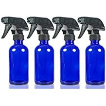Large 8 oz Cobalt Blue Glass Spray Bottles with Chalkboard Labels (4 Pack), BPA Free for Essential Oils, Aromatherapy and Natural Cleaning Products. Heavy Duty Fine Mist Spray and Stream Trigger Sprayers