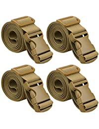 """80"""" Long Utility Luggage Straps with Buckle Adjustable (Tan (4-Pack), 1.5"""" Wide - 80"""" Long)"""