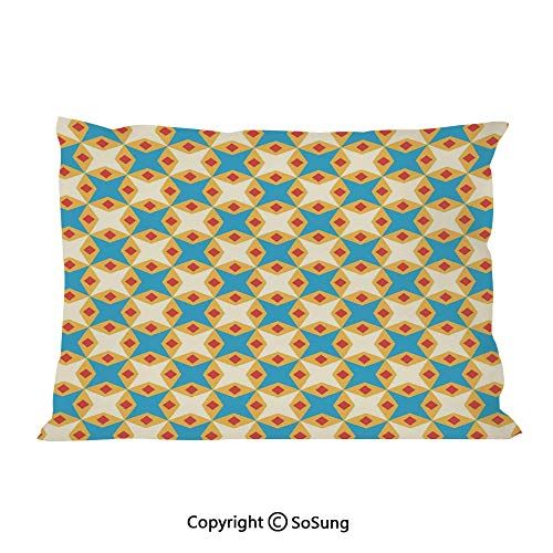 (Kids Bed Pillow Case/Shams Set of 2,Flower Motifs in Shabby Colors Vintage Ornamental Pattern Geometrical King Size Without Insert (2 Pack Pillowcase 36