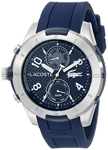 Lacoste Men s 2010761 Tonga Silver-Tone Watch with Blue Silicone Band