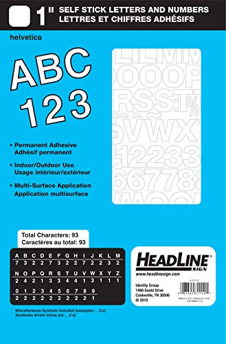 - Headline Sign 31112 Stick-On Vinyl Letters and Numbers, White, 1-Inch
