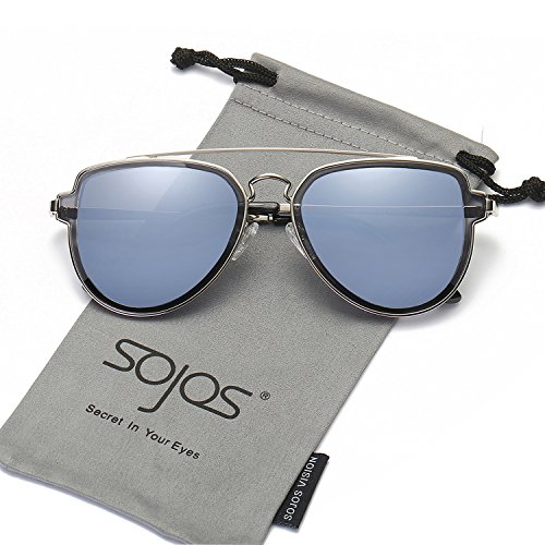 SojoS Fashion Aviator Unisex Sunglasses Flat Mirrored Lens Double Bridge SJ1051 Silver Frame/Blue Grey Mirrored - Online Sunglasses Men
