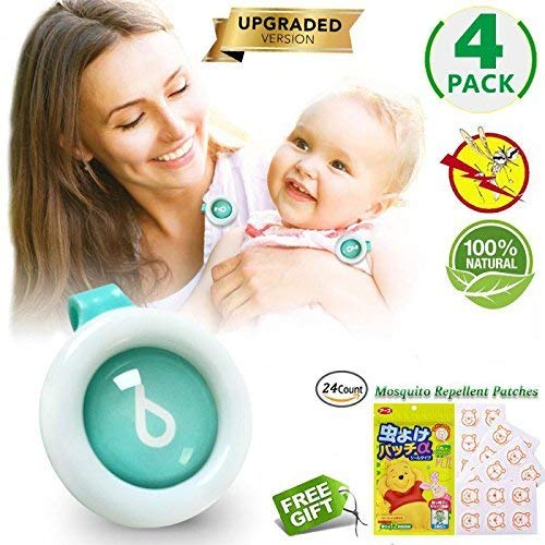 Mosquito Repellent Clip Baby, Natural Plant Insect Bug Repeller for Infaints & Toddlers 4 Pack
