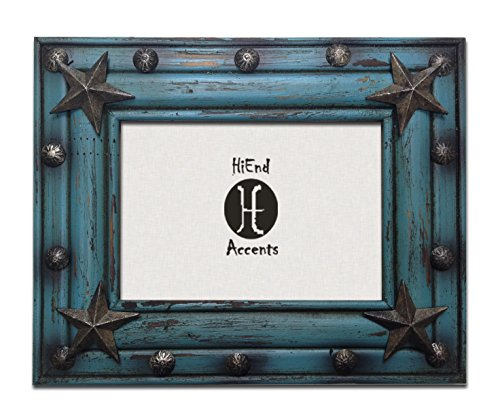 HiEnd Accents Western Distressed Wood Frame with Tacks and Stars Frame, 5 x 7, Turquoise
