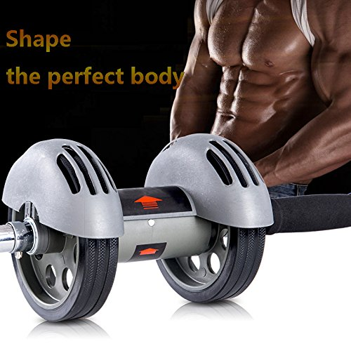 Heavy duty Dual Wheels Ab Roller Fitness Equipment Abdominal Carver Abs Trainer Outdoor Indoor Workout Machine (Kinetic Trainer Floor Mat)