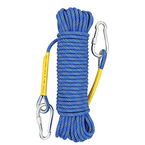 Lanyard Polyester Rope - X XBEN Outdoor Climbing Rope Rock Climbing Rope, Escape Rope Climbing Equipment Fire Rescue Parachute Rope (64 Foot) - Blue