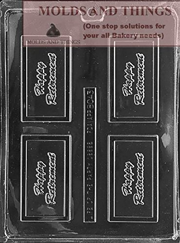 (MOLDS AND THINGS Happy Retirement Chocolate Candy Mold with copywrited Molding Instruction)