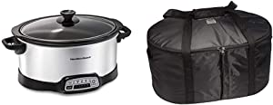 Hamilton Beach 7-Quart Programmable Slow Cooker With Flexible Easy Programming, Dishwasher-Safe Crock & Lid, Silver (33473) & Travel Case & Carrier Insulated Bag (33002),Black