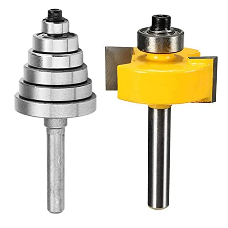 3//8 7//16 1//2 1//4 Eyech 1//2-Inch Shank Rabbeting Router Bit with 6 Bearings Set for Multiple Cutting Depths 1//8 5//16
