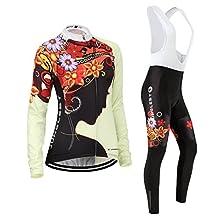 Cycling jersey Set, Maillot de Cyclisme Women Femme Long sleeve Manches Longues(S~5XL,option:bib Cuissard,3D pad Coussin) N219