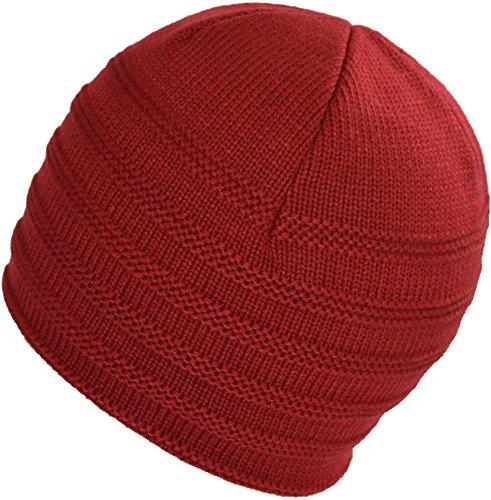 BaronHong calientes Beanie Cap Slouchy de para Hat hombres los Rojo terciopelo Diario Skull Stripes TTrBap1