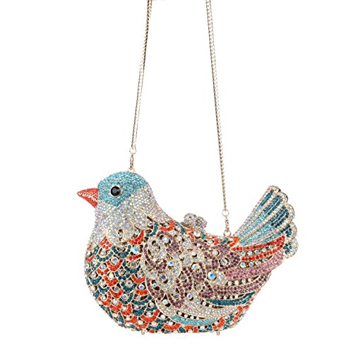 Glitter Blue Clutch Purses Rhinestone For Bonjanvye Lake Evening Bird Bag Girls ZzxddfWR
