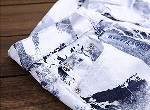 A Pantaloni In Stile Media Casual Fit Vita Bianca Confortevoli Stampa Con Elasticizzati Moderna Jeans Morbido Da Dritta Vintage Slim Uomo wZSptnnOAq