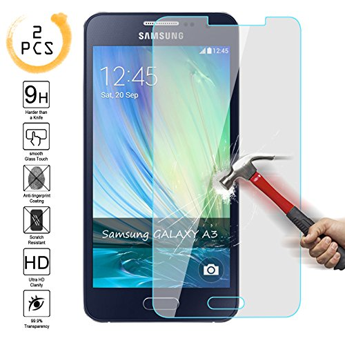 [2PCS] Samsung A3 [2015 Edition] Tempered Glass Screen Protector ,Kmall 0.26mm HD Clear Coating Screen Film Cover For Samsung Galaxy A3 with 9H Hardness (NOT for Samsung Galaxy S3 or 2016 Edition)