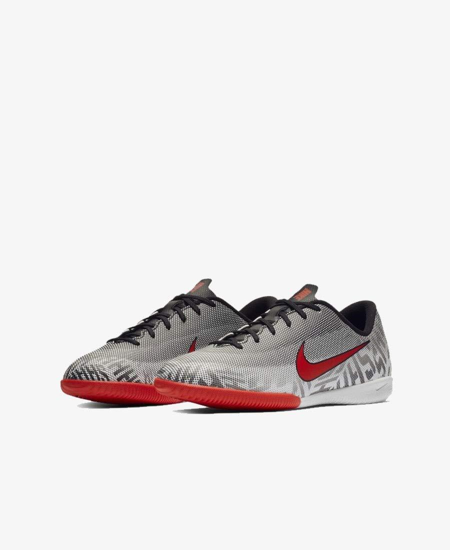 Nike Youth Soccer Vapor XII Academy Neymar Jr. Indoor Shoes (4.5 Big Kid M US), White / Black / Challenge Red