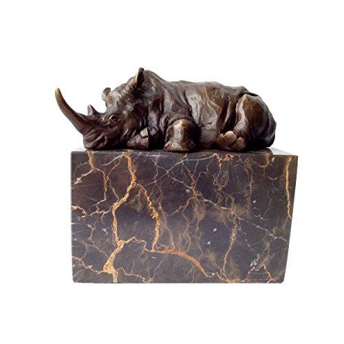 Toperkin TPAL-272 Rhinoceros Statue African Rhino Collectible Figurine, 5 Inch, Bronze