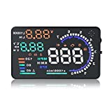 ZXLine A8 5.5 inches HUD Head Up Colorful Multifunction Display with OBD2, KM/h MPH RPM Speeding Warning