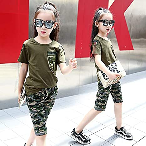 MV Childrens Clothing Girls Suit Boy Camouflage Military Sports T-Shirt Two-Piece