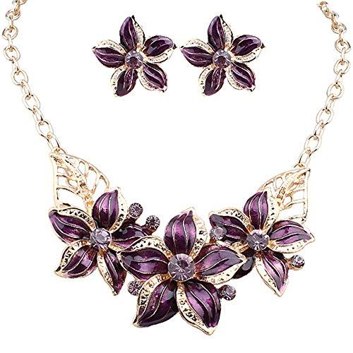 Zjzhao shop Fashion Women Crystal Flower Statement Gold Plated Necklace Earrings Jewelry Set (Preple) Purple Necklace Earrings